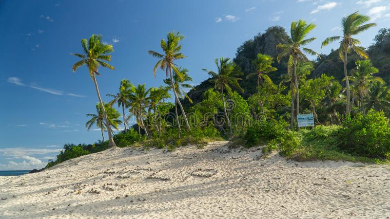 Sunny day in the Monuriki island where Castaway movie was filmed, Fiji. Famous sigh Help me from Castaway film in Monuriki island royalty free stock photo
