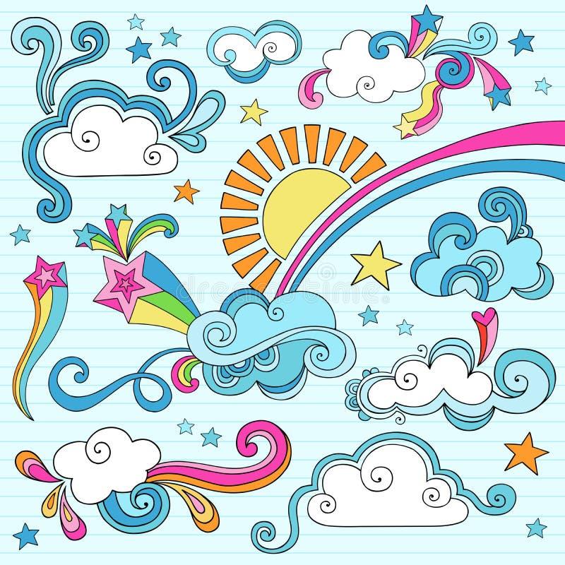 Sunny Day Notebook Doodles Vector Illustration stock illustration