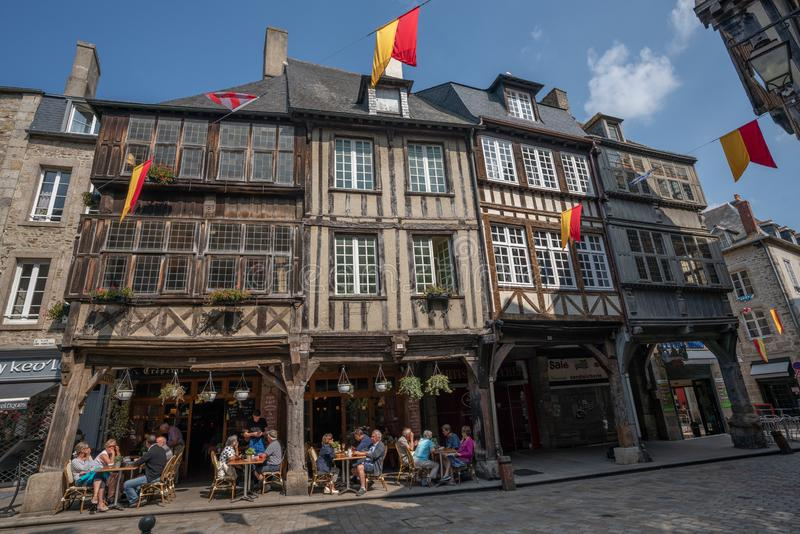 Sunny day in the old town center of medieval Dinan France. stock photos