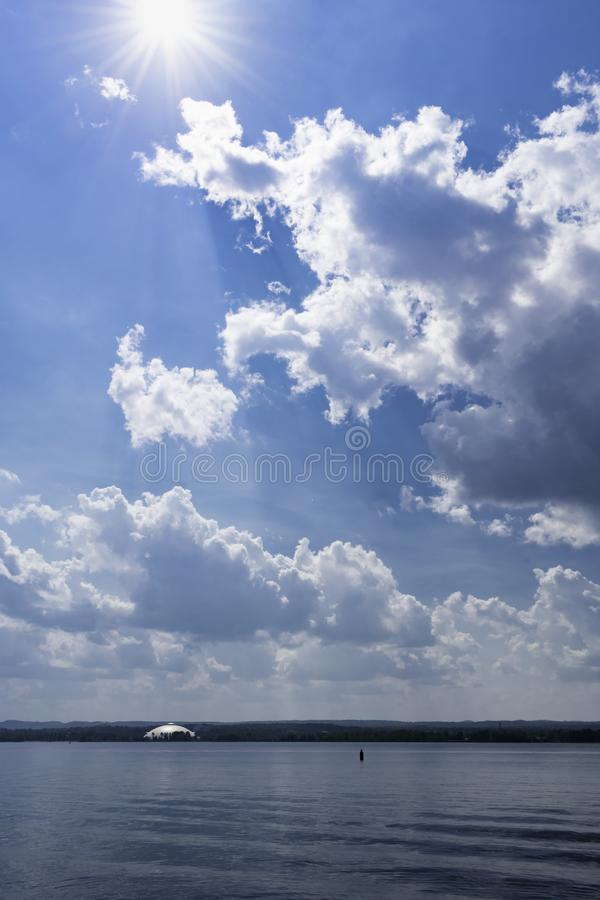 Sunny Day over the Superior Dome. And Lake Superior stock photography