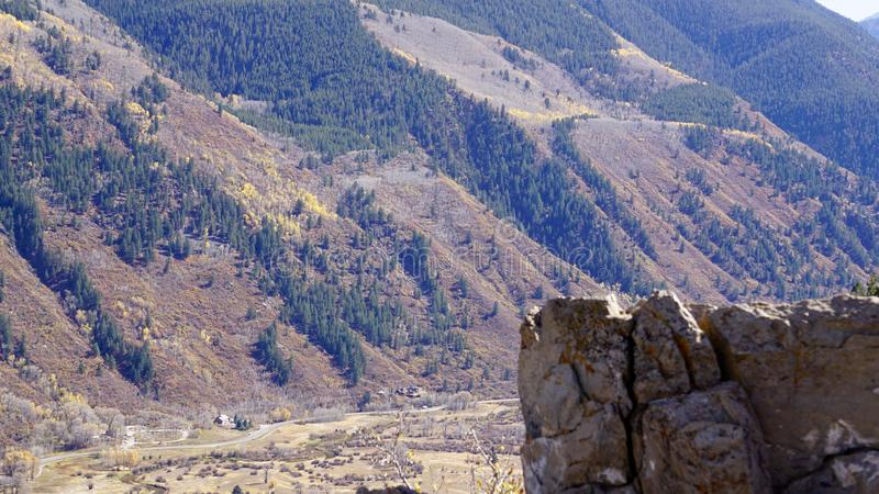 A sunny day overlooking the Aspen Valley royalty free stock photo