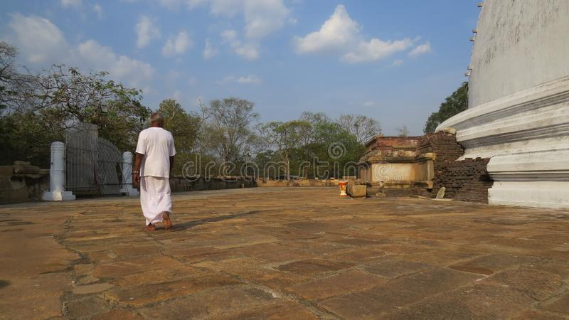 Sunny day on a pilgrimage site in Auradhapura Sri Lanka stock images