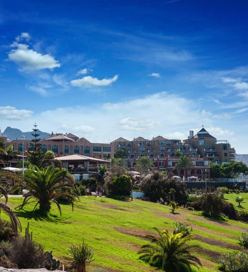 Download Sunny Day In Puerto De La Cruz, Tenerife, Spain. Tourist Hotel Resort. Sunset Stock Image - Image: 29018983