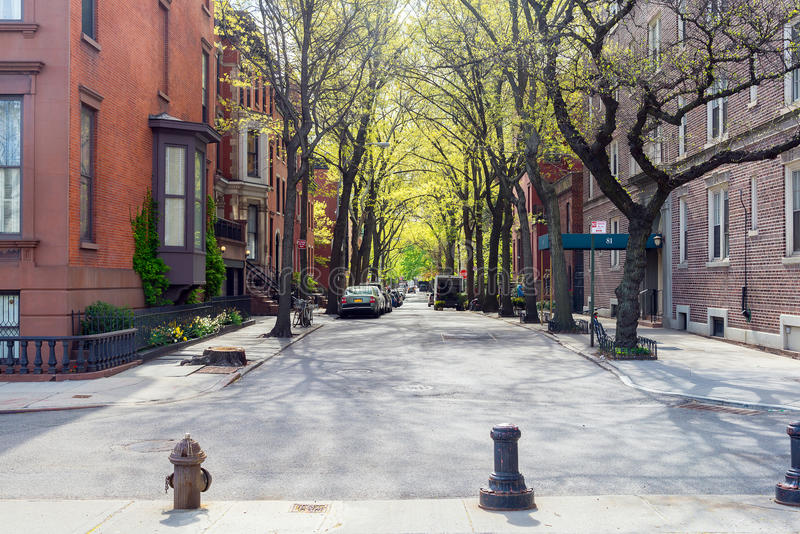 Sunny day at the street in Brooklyn, New York stock photos