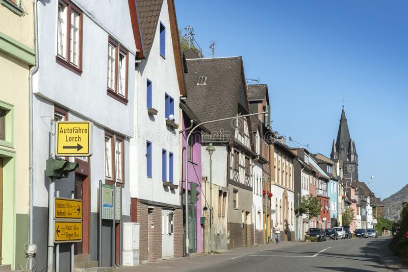 Sunny day on the streets of Oberlahnstein, a part of the city of Lahnstein in Rhineland-Palatinate in Germany. Oberlahnstein, Germany - September 18 2019: Sunny stock image