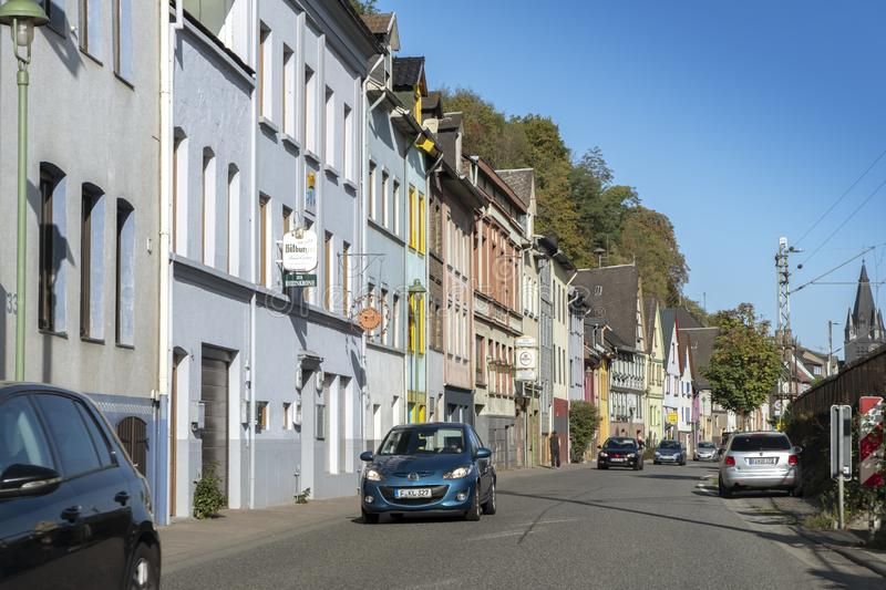 Sunny day on the streets of Oberlahnstein, a part of the city of Lahnstein in Rhineland-Palatinate. Oberlahnstein, Germany - September 18 2019: Sunny day on the royalty free stock photos