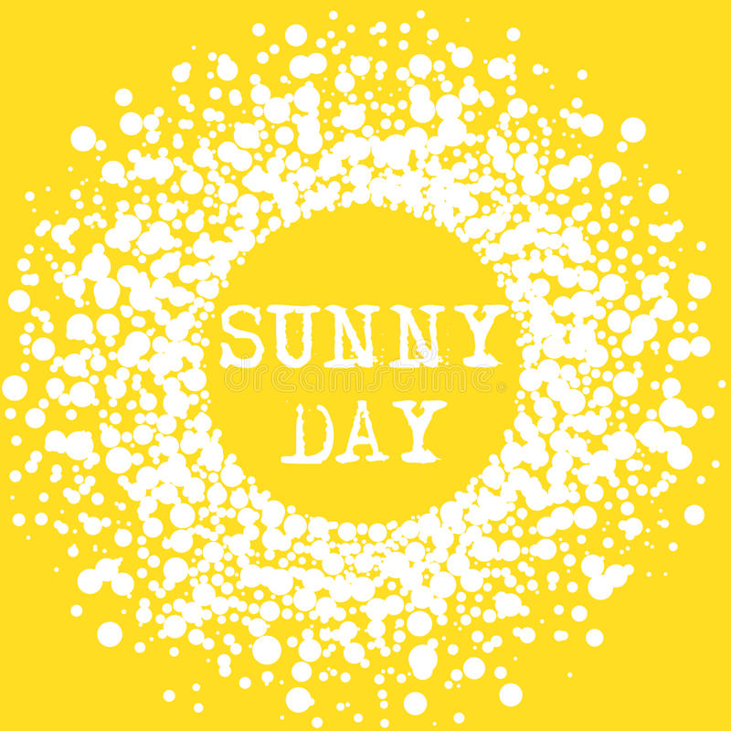 Sunny Day Summer Typography Sign. Sun yellow Sunny Day Summer lettering poster or card. Shattered splash drops frame royalty free illustration