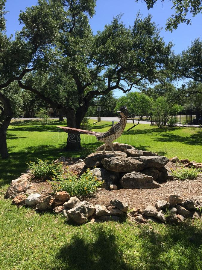 Road runner statue in Texas hill country town royalty free stock images
