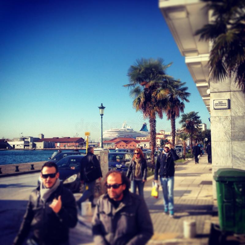 Sunny day in Thessaloniki royalty free stock image