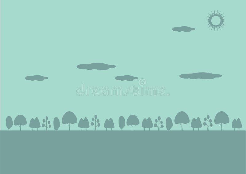 Sunny Day Trees Silhouettes Nature bakgrund stock illustrationer