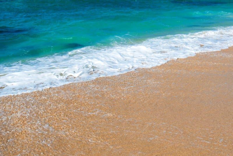 Sunny day on tropical beach. Luxury vacation on the ocean coastline and tropical beach royalty free stock photo