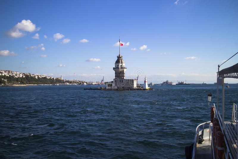 Sunny day view of the Maiden`s Tower Istanbul. Turkey KIZ KULESI - symbol of Istanbul royalty free stock image