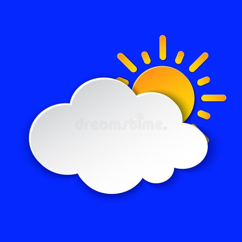 Sunny Day Weather förutsedd informationssymbol Gult solsymbolpapper klippte stil på blått Klimatväderbeståndsdel Moderiktig knapp royaltyfri illustrationer