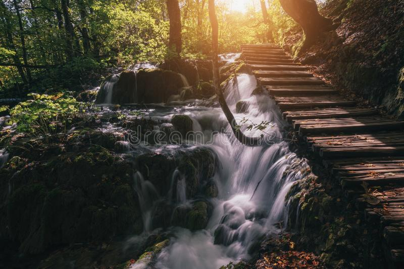 Sunny day day and wooden tourist path in Plitvice lakes national royalty free stock image