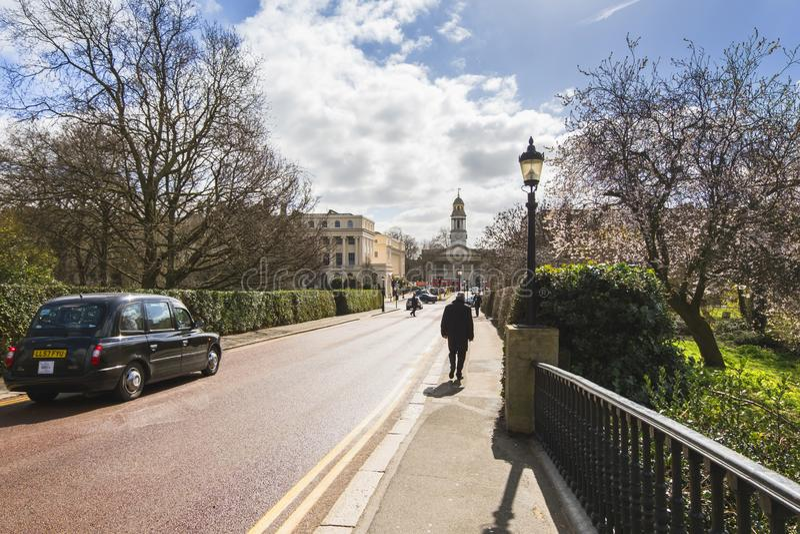 Sunny day on York Bridge in Regent`s Park with a view towards Saint Marylebone church. stock photo