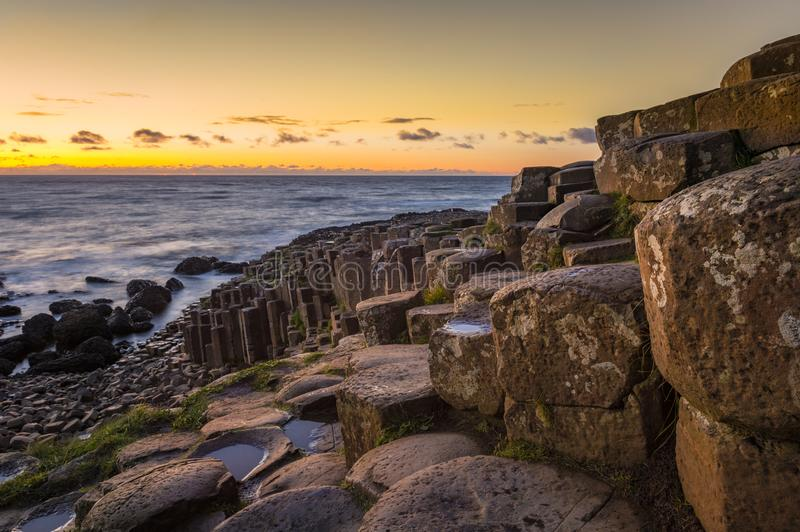 A sunny evening at the Giants Causeway, Co. Antrim.  royalty free stock images