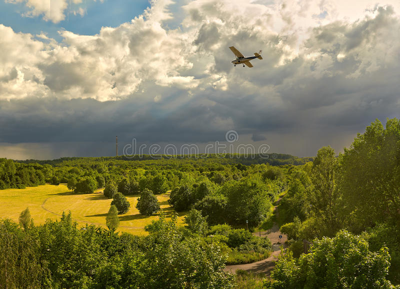 A sunny evening before the thunderstorm - a view of the forests and field in the vicinity of Leipzig Germany stock image