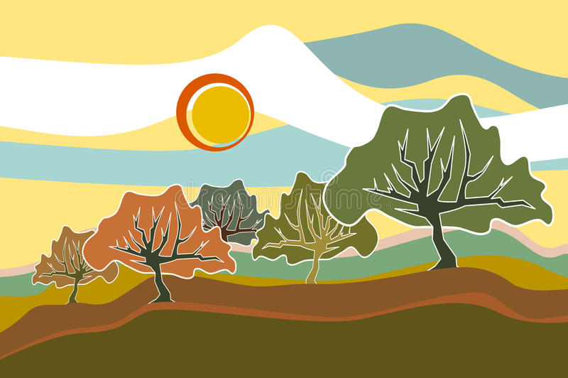 Sunny Field Trees landscape illustration vector illustration