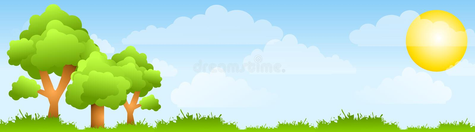 Sunny Field Trees and Sun Banner stock illustration