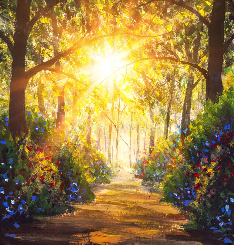 Free Sunny Forest Wood Trees Original Oil Painting. Road In Sun Summer Flowers Park Alley Impressionism Fine Art Royalty Free Stock Photo - 177482825