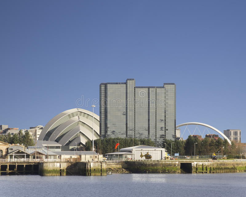 Sunny Glasgow cityscape beside Clyde royalty free stock images