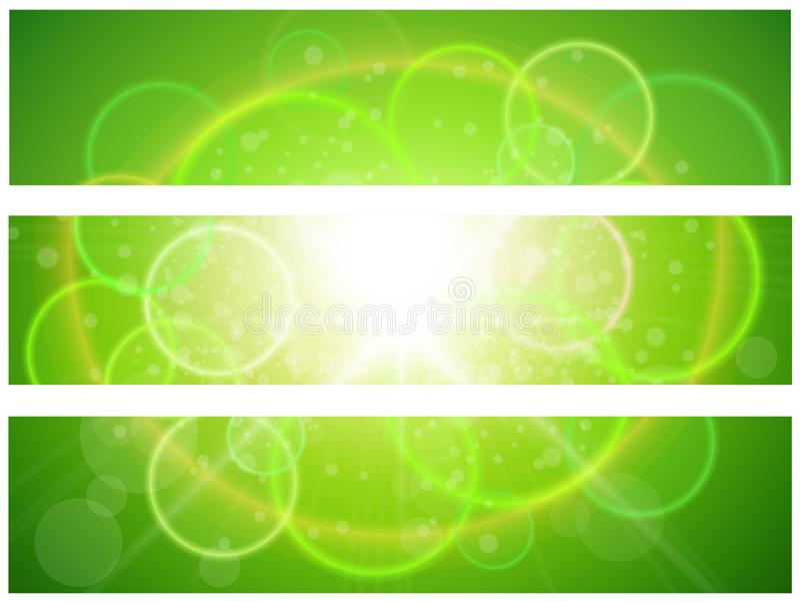 Sunny green banners vector illustration