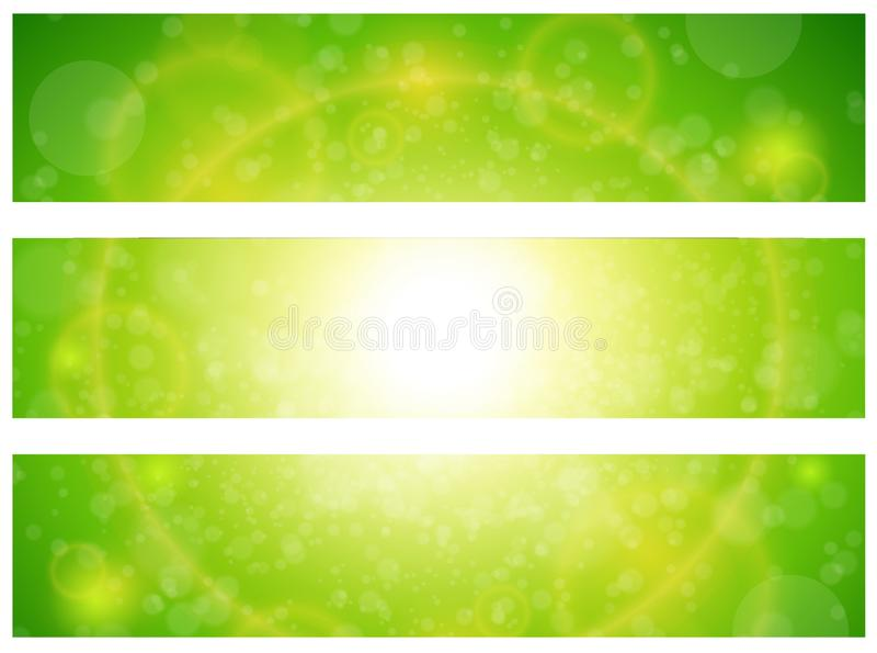 Sunny green banners royalty free illustration