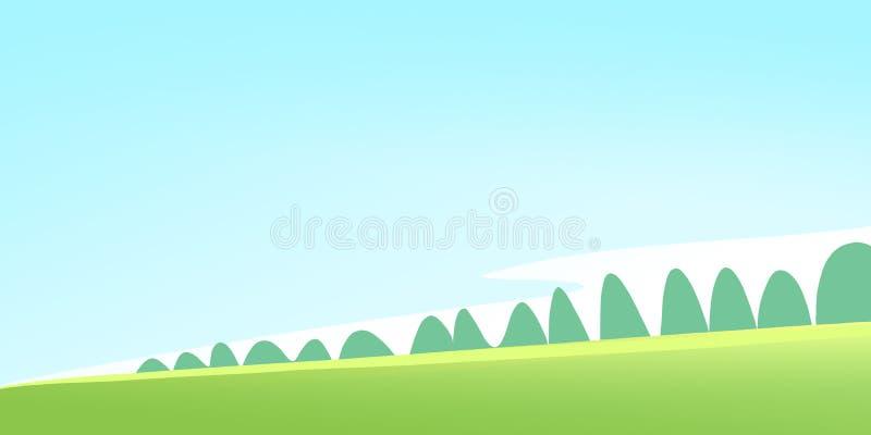 Sunny Green Meadow avec la forêt illustration stock