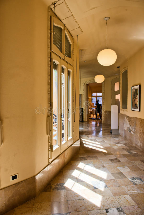 Sunny Hallway Inside Casa Mila, Barcelona, Spain royalty free stock image