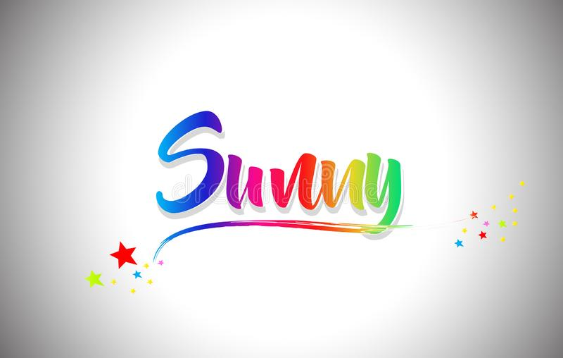 Sunny Handwritten Word Text con i colori dell'arcobaleno e vibranti mormorano illustrazione vettoriale