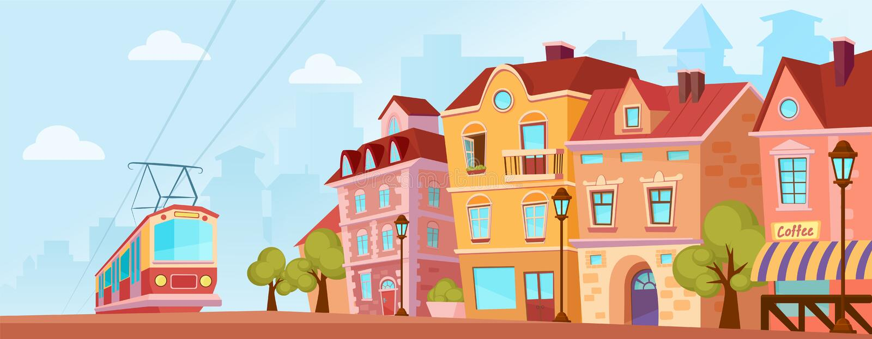 Sunny historical city street. Old city banner with tram. Cartoon vector illustration. royalty free illustration