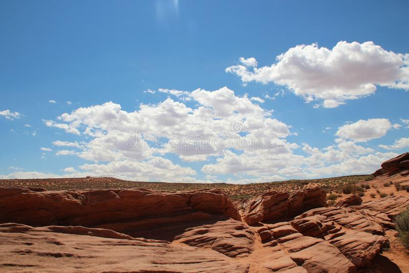 Sunny Horseshoe Bend Grand Canyon Arizona de V.S. royalty-vrije stock afbeeldingen
