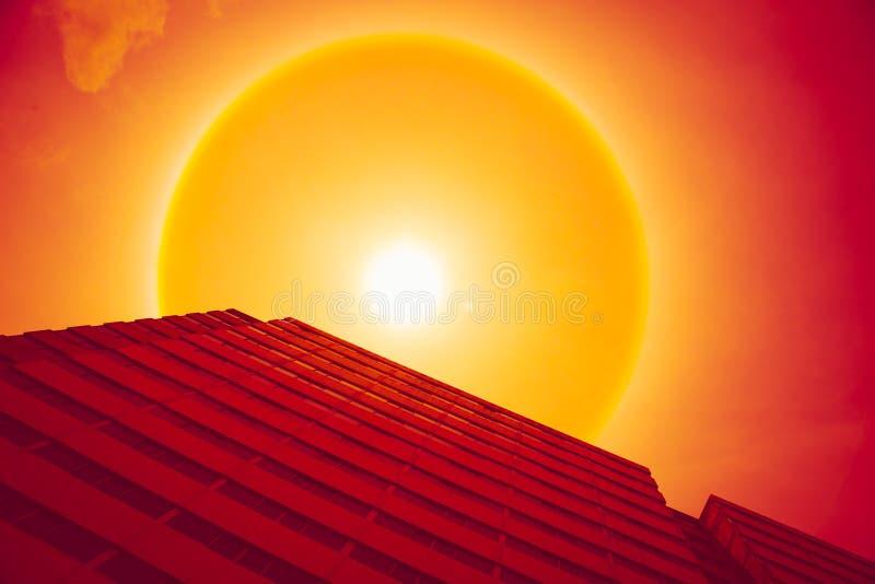 Sunny hot day, sun halo phenomenon. Sun halo effect, sun ring royalty free stock photo