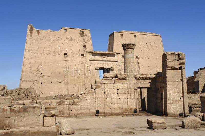 Sunny illuminated Temple of Edfu in Egypt stock images