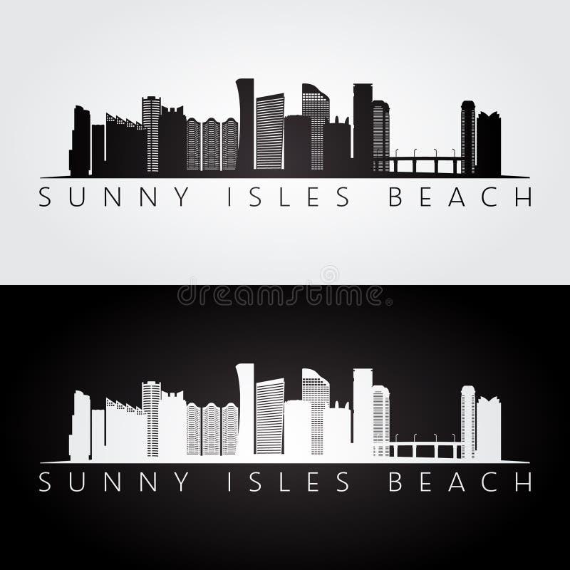 Sunny Isles Beach, de horizon van de V.S. en oriëntatiepuntensilhouet, zwart-wit ontwerp royalty-vrije illustratie
