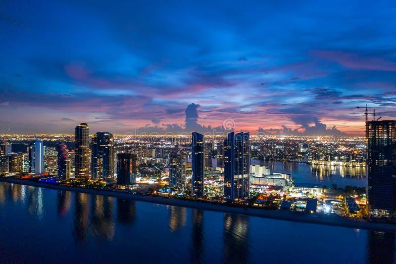 Sunny Isles Beach Florida USA twilight aerial panorama stock image