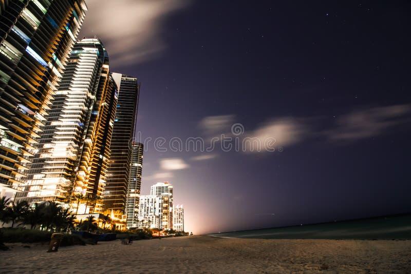 Sunny isles coastline beach night royalty free stock photography
