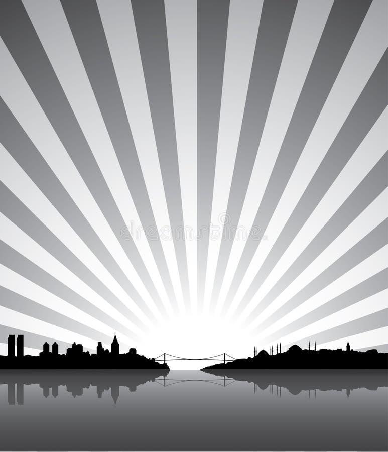 Sunny Istanbul silhouette stock illustration