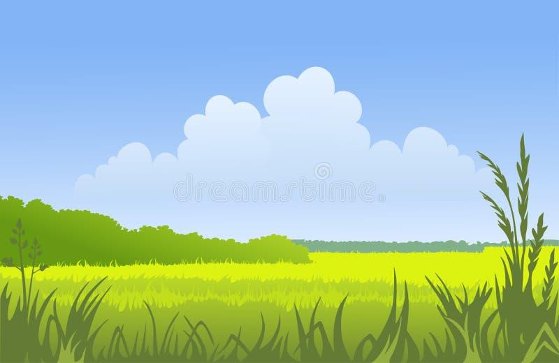 Sunny landscape vector illustration