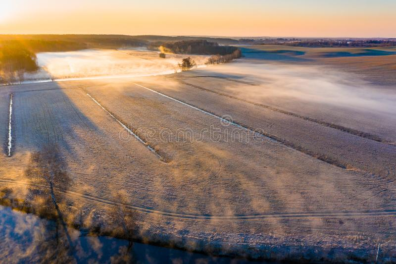 Sunny landscape. Beautiful scenery in rural area. Farmland aerial view stock images