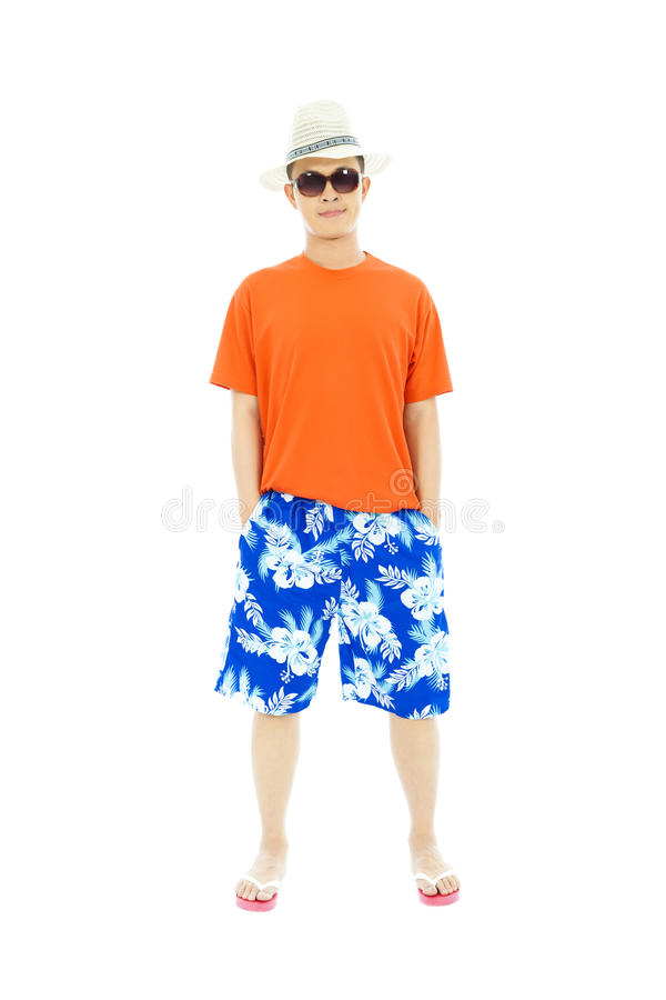 Sunny man wearing beach short and Flip Flops. In studio stock photos