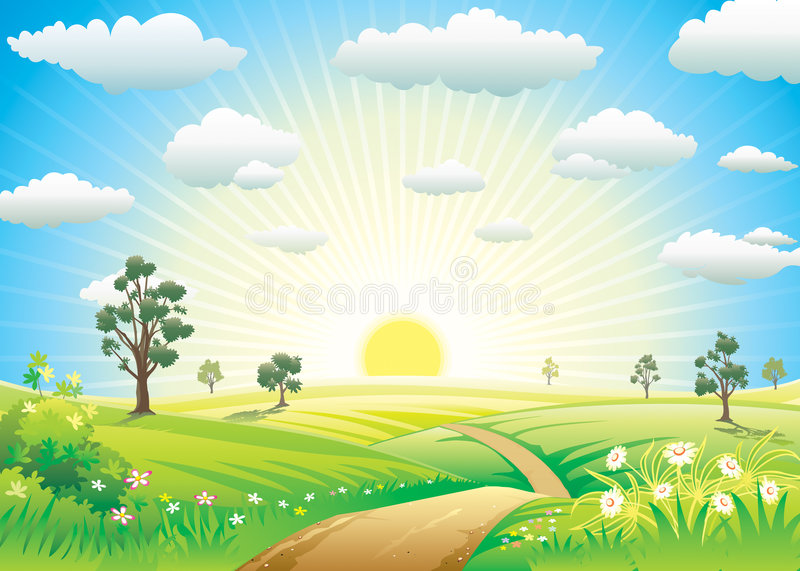 Sunny Meadow. Landscape of vector illustration layered