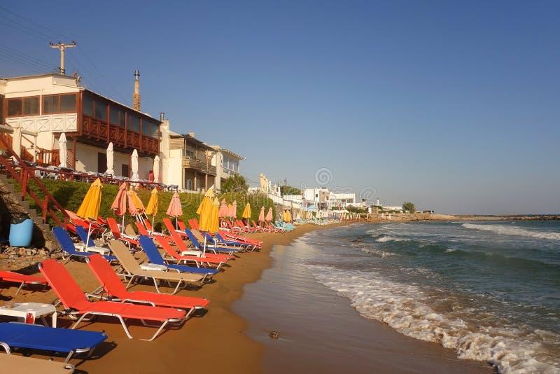 Sunny morning and beach in Kokkini Hani stock image