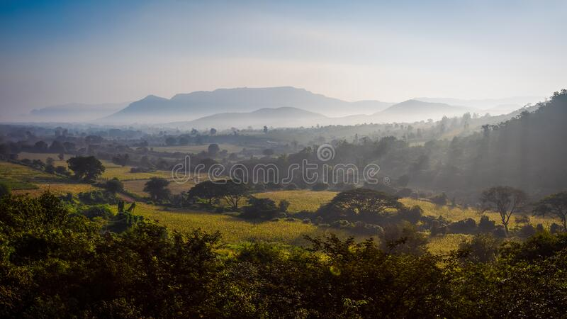 A sunny morning on a cold day. At Sandur, India royalty free stock photo
