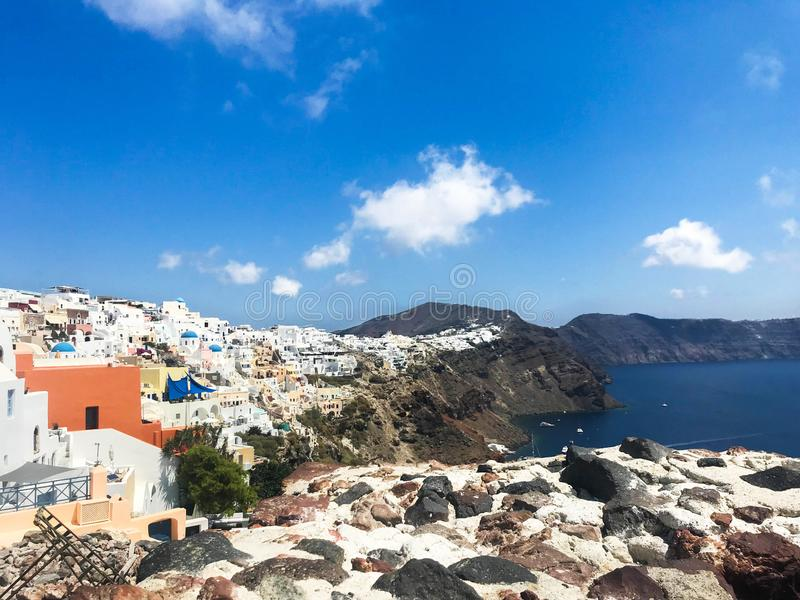 Sunny morning panorama of Santorini island. Colorful spring view offamous Greek resort Fira, Greece, Europe royalty free stock images