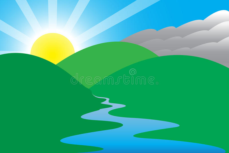 Sunny Morning Scene royalty free illustration