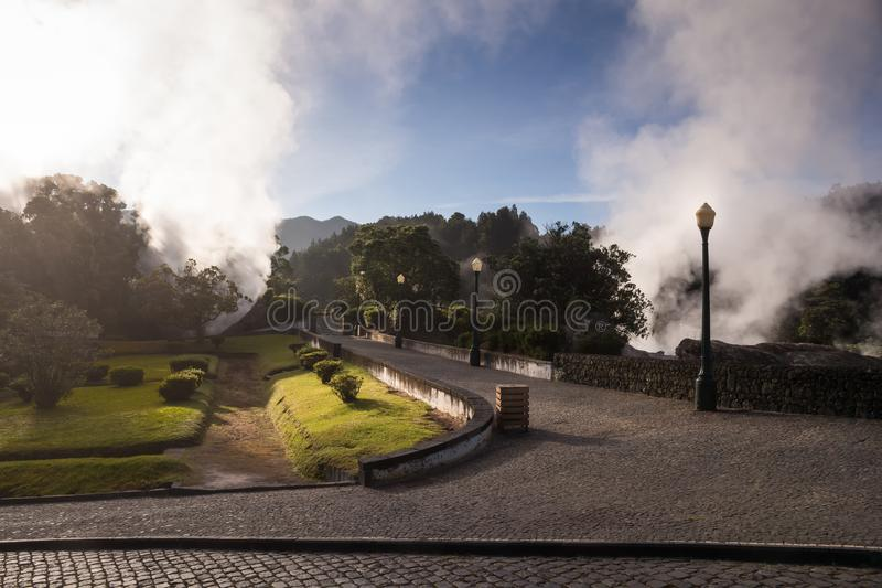 Hot springs in Furnas, Sao Miguel stock photo