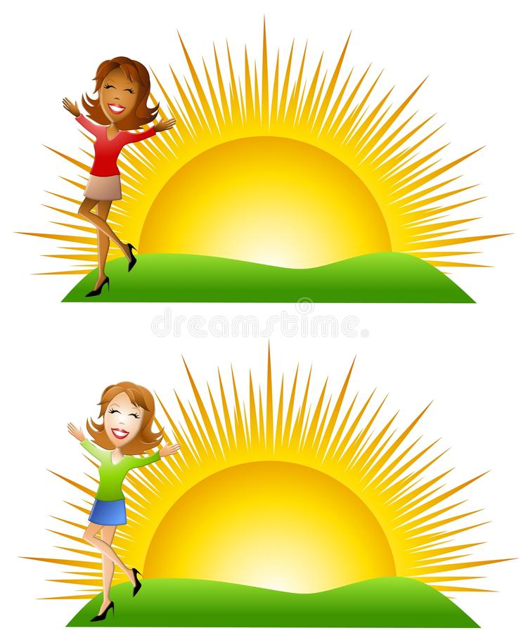 Sunny Morning Women. An illustration featuring your choice of woman standing in green grass with sunrise in background stock illustration