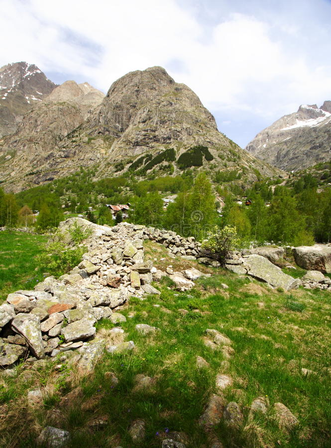 Sunny mountain landscape stock photos