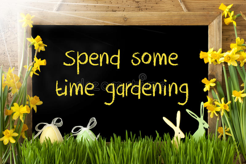 Sunny Narcissus, Easter Egg, Bunny, Text Spend Some Time Gardening. Blackboard With English Text Spend Some Time Gardening. Sunny Spring Flowers Nacissus Or royalty free stock photography